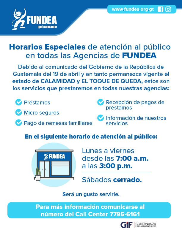 Horarios Especiales de Agencias FUNDEA